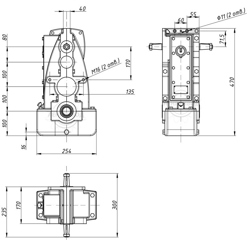 Размеры редуктора В-100