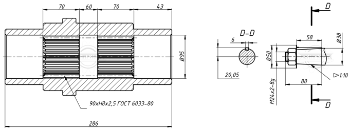Размеры валов В-250